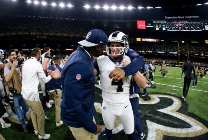 NEW ORLEANS, LOUISIANA - JANUARY 20: Johnny Hekker #6 and Greg Zuerlein #4 of the Los Angeles Rams celebrate after kicking the game winning field goal in overtime against the New Orleans Saints in the NFC Championship game at the Mercedes-Benz Superdome on January 20, 2019 in New Orleans, Louisiana. The Los Angeles Rams defeated the New Orleans Saints with a score of 26 to 23