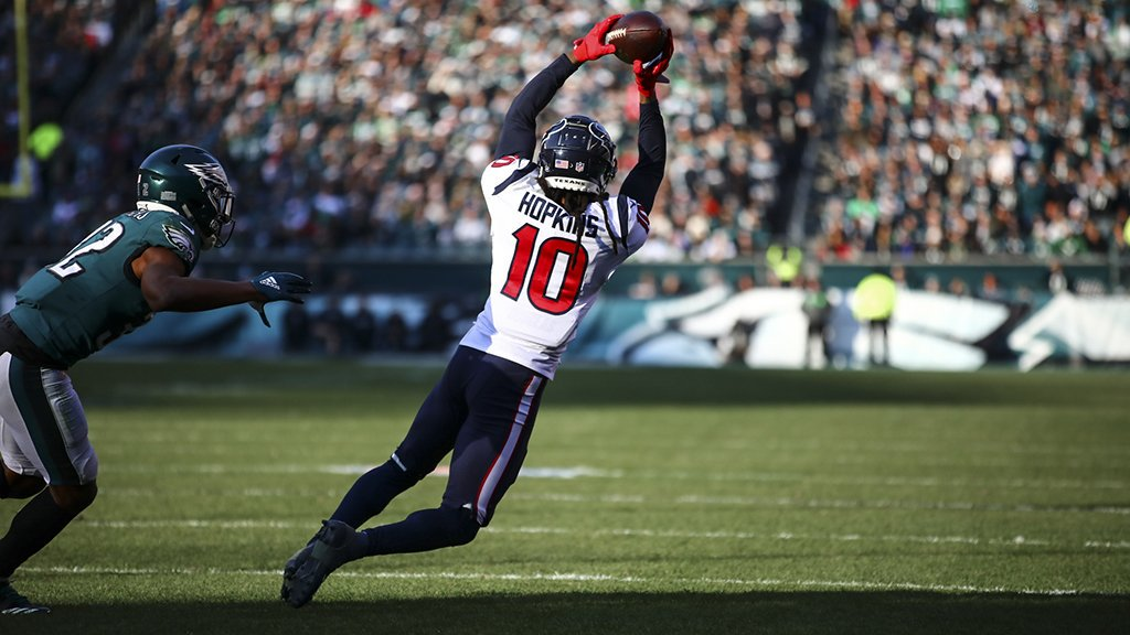 DeAndre Hopkins, do Houston Texans, contra o Philadelphia Eagles
