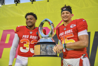ORLANDO, FL - JANUARY 27: Jamal Adams #33 of the New York Jets and Patrick Mahomes #15 of the Kansas City Chiefs are names Co-MVP's after the 2019 NFL Pro Bowl at Camping World Stadium on January 27, 2019 in Orlando, Florida