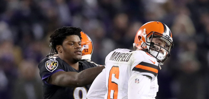 BALTIMORE, MARYLAND - DECEMBER 30: Quarterback Lamar Jackson #8 of the Baltimore Ravens consoles quarterback Baker Mayfield #6 of the Cleveland Browns late in the fourth quarter after Mayfield threw an interception during the Ravens 26-24 win at M&T Bank Stadium on December 30, 2018 in Baltimore, Maryland
