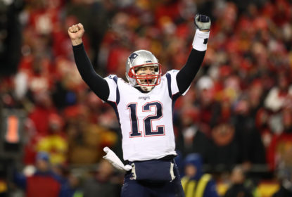KANSAS CITY, MISSOURI - JANUARY 20: Tom Brady #12 of the New England Patriots celebrates after defeating the Kansas City Chiefs in overtime during the AFC Championship Game at Arrowhead Stadium on January 20, 2019 in Kansas City, Missouri. The Patriots defeated the Chiefs 37-31
