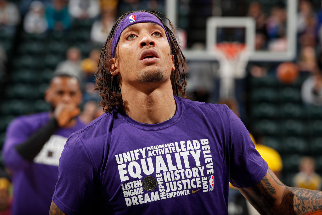 INDIANAPOLIS, IN - FEBRUARY 5: Michael Beasley #11 of the Los Angeles Lakers warms up before the game against the Indiana Pacers on February 5, 2019 at Bankers Life Fieldhouse in Indianapolis, Indiana. NOTE TO USER: User expressly acknowledges and agrees that, by downloading and/or using this photograph, user is consenting to the terms and conditions of the Getty Images License Agreement. Mandatory Copyright Notice: Copyright 2019 NBAE