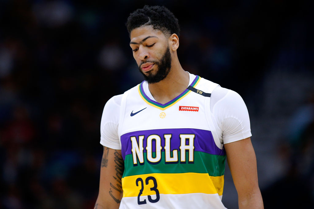 NEW ORLEANS, LOUISIANA - FEBRUARY 08: Anthony Davis #23 of the New Orleans Pelicans reacts during the first half against the Minnesota Timberwolves at the Smoothie King Center on February 08, 2019 in New Orleans, Louisiana
