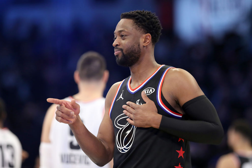 CHARLOTTE, NORTH CAROLINA - FEBRUARY 17: Dwyane Wade #3 of the Miami Heat reacts as they take on Team Giannis in the second quarter during the NBA All-Star game as part of the 2019 NBA All-Star Weekend at Spectrum Center on February 17, 2019 in Charlotte, North Carolina
