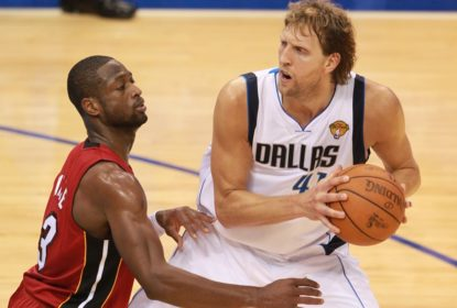 DALLAS, TX - JUNE 5: Dirk Nowitzki #41 of the Dallas Mavericks in action against Dwyane Wade #3 of the Miami Heat during Game Three of the 2011 NBA Finals on June 5, 2011 at the American Airlines Center in Dallas