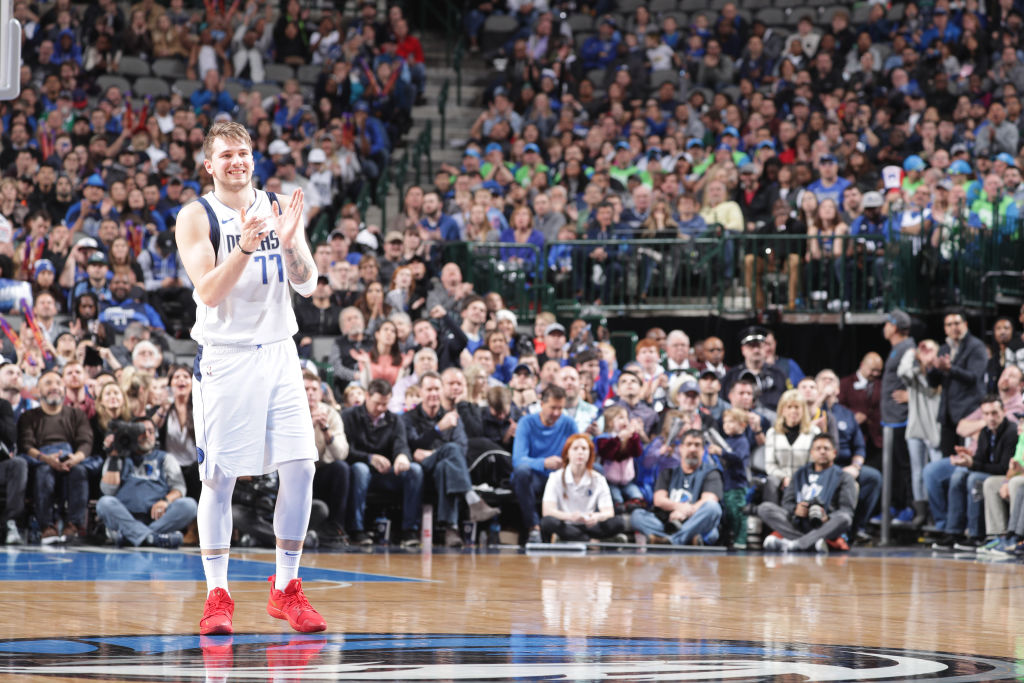 DALLAS, TX - FEBRUARY 10: Luka Doncic #77 of the Dallas Mavericks smiles during the game against the Portland Trail Blazers on February 10, 2019 at the American Airlines Center in Dallas, Texas