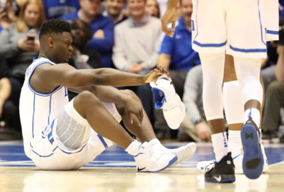DURHAM, NORTH CAROLINA - FEBRUARY 20: Zion Williamson #1 of the Duke Blue Devils reacts after falling as his shoe breaks during their game against the North Carolina Tar Heels at Cameron Indoor Stadium on February 20, 2019 in Durham, North Carolina