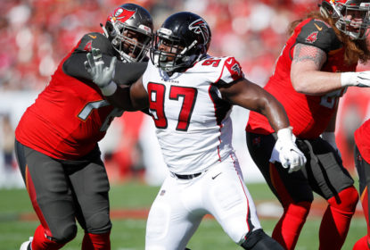 TAMPA, FL - DECEMBER 30: Grady Jarrett #97 of the Atlanta Falcons in action during the game against the Tampa Bay Buccaneers at Raymond James Stadium on December 30, 2018 in Tampa, Florida. The Falcons won 34-32
