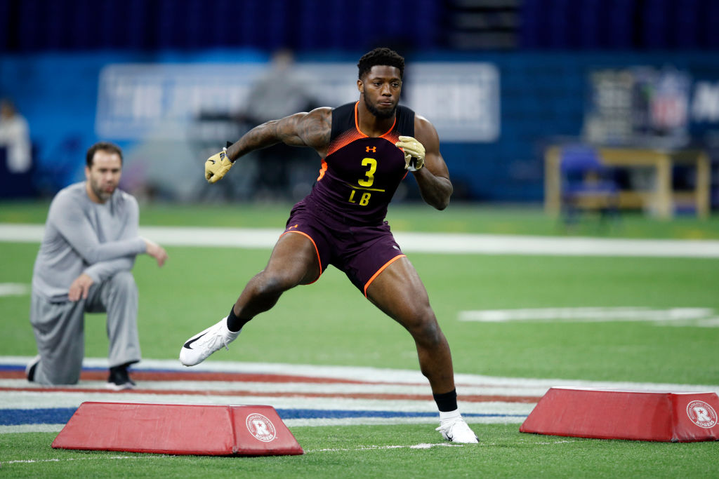INDIANAPOLIS, IN - MARCH 03: Linebacker Josh Allen of Kentucky works out during day four of the NFL Combine at Lucas Oil Stadium on March 3, 2019 in Indianapolis, Indiana