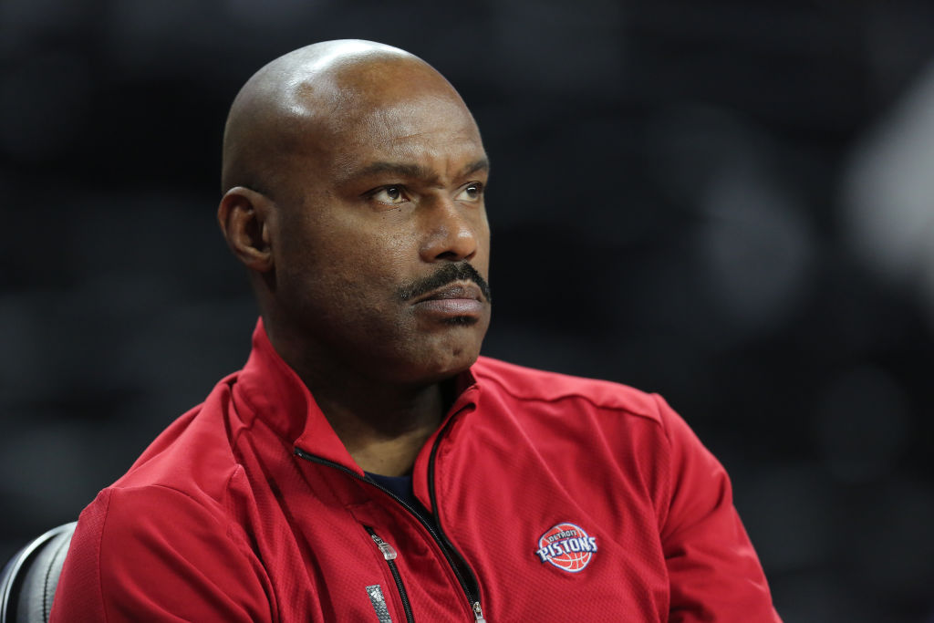 AUBURN HILLS, MI - JANUARY 18: Tim Hardaway of the Detroit Pistons watches his team warm up before a game against the Atlanta Hawks at the Palace of Auburn Hills on January 18, 2017 in Auburn Hills, Michigan
