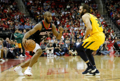 HOUSTON, TX - DECEMBER 17: Chris Paul #3 of the Houston Rockets drives to the basket defended by Ricky Rubio #3 of the Utah Jazz in the second half at Toyota Center on December 17, 2018 in Houston, Texas
