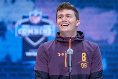 INDIANAPOLIS, IN - MARCH 01: Missouri quarterback Drew Lock answers questions from the media during the NFL Scouting Combine on March 01, 2019 at the Indiana Convention Center in Indianapolis, IN