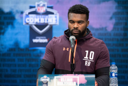 INDIANAPOLIS, IN - FEBRUARY 28: Georgia running back Elijah Holyfield answers questions from the media during the NFL Scouting Combine on February 28, 2019 at the Indiana Convention Center in Indianapolis, IN