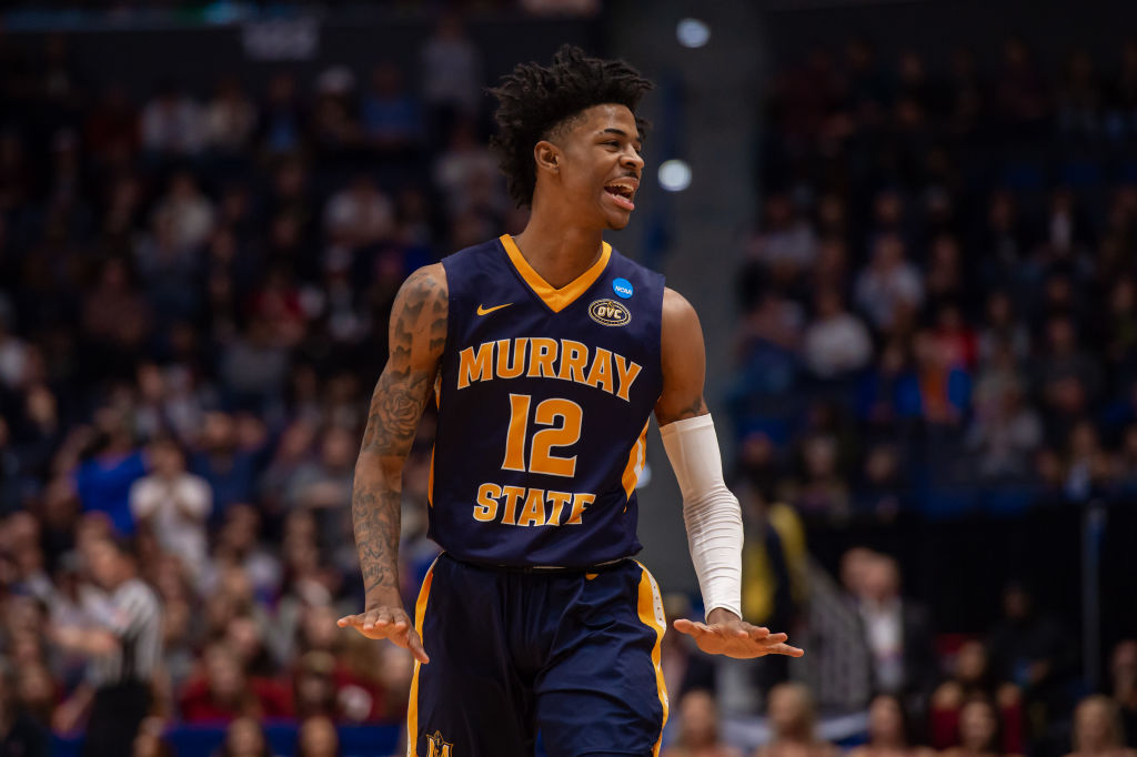 HARTFORD, CT - MARCH 23: Murray State Racers guard Ja Morant (12) during the NCAA Division I Men's Championship second round college basketball game between the Florida State Seminoles and the Murray State Racers on March 23, 2019 at XL Center in Hartford, CT