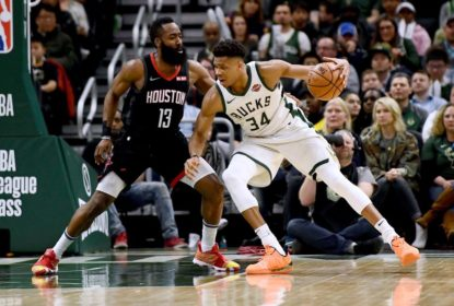 MILWAUKEE, WISCONSIN - MARCH 26: Giannis Antetokounmpo #34 of the Milwaukee Bucks is defended by James Harden #13 of the Houston Rockets during the second half of a game at Fiserv Forum on March 26, 2019 in Milwaukee, Wisconsin
