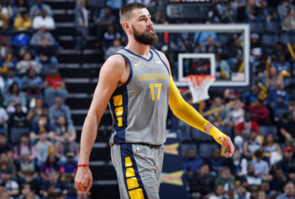 MEMPHIS, TN - MARCH 23: Jonas Valanciunas #17 of the Memphis Grizzlies looks on during the game against the Minnesota Timberwolves at FedExForum on March 23, 2019 in Memphis, Tennessee. Minnesota won 112-99