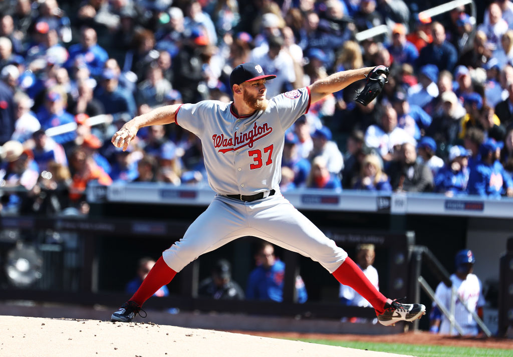 NEW YORK, NEW YORK - APRIL 04: Stephen Strasburg #37 of the Washington Nationals pitches against the New York Mets during the Mets Home Opening game at Citi Field on April 04, 2019 in New York City