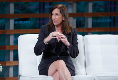 NEW YORK, NY - SEPTEMBER 20: Deloitte Chair, Cathy Engelbert speaks during the 2018 Yahoo Finance All Markets Summit at The Times Center on September 20, 2018 in New York City