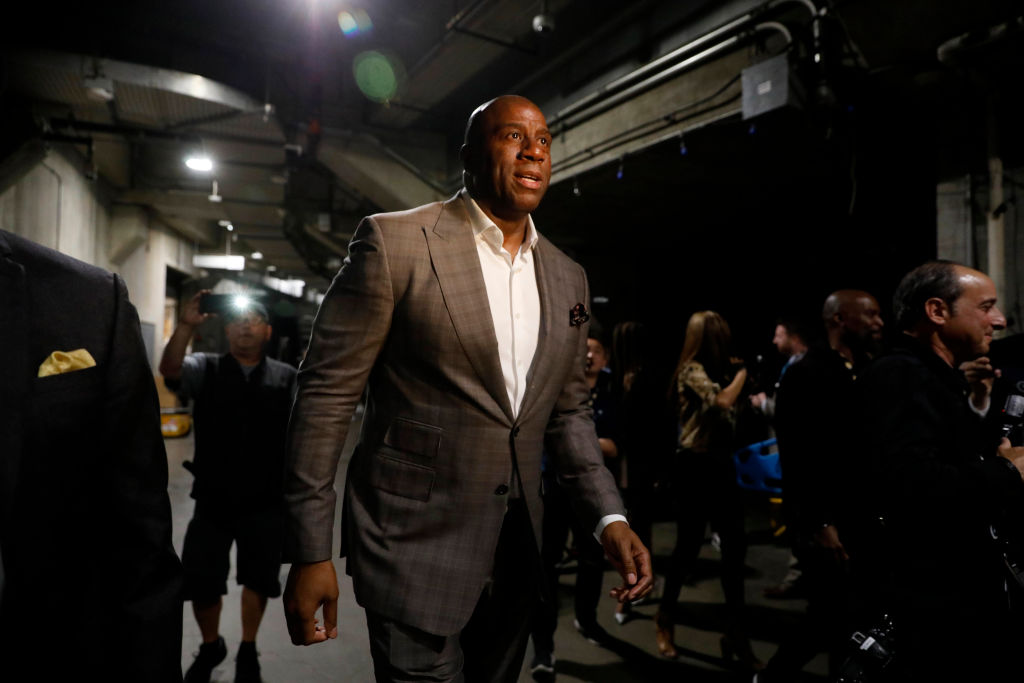 LOS ANGELES, CA - APRIL 9: Earvin Magic Johnson steps down as Lakers president of basketball operations on April 9, 2019 at the Staples Center in Los Angeles, California.