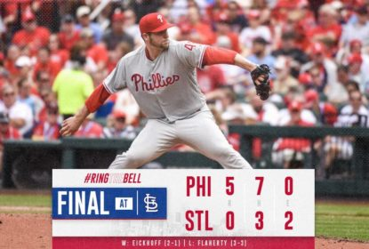 Jared Eickhoff brilha e Phillies vencem Cardinals por 5 a 0