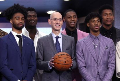NEW YORK, NEW YORK - JUNE 20: (L-R) NBA Draft prospects Coby White, Zion Williamson, NBA Commissioner Adam Silver, Ja Morant and De'Andre Hunter stand on stage with NBA Commissioner Adam Silver before the start of the 2019 NBA Draft at the Barclays Center on June 20, 2019 in the Brooklyn borough of New York City.