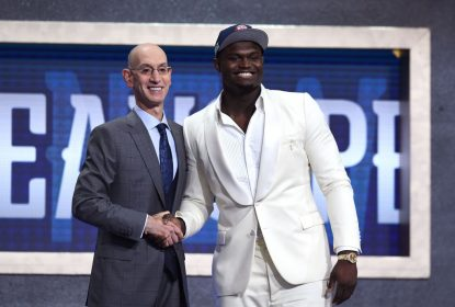 NEW YORK, NEW YORK - JUNE 20: Zion Williamson poses with NBA Commissioner Adam Silver after being drafted with the first overall pick by the New Orleans Pelicans during the 2019 NBA Draft at the Barclays Center on June 20, 2019 in the Brooklyn borough of New York City