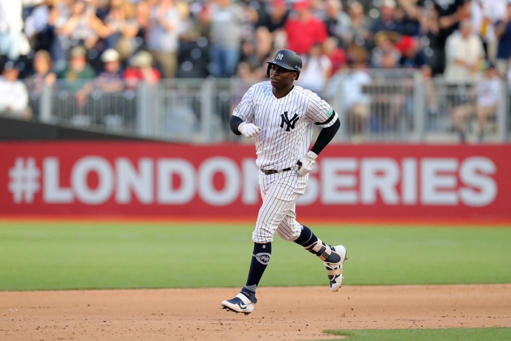 LONDON, ENGLAND - JUNE 30: Didi Gregorius #18 of the New York Yankees rounds the bases after hitting a solo home run in the eighth inning of game two of the London Series between the New York Yankees and the Boston Red Sox at London Stadium on Sunday, June 30, 2019 in London, England.
