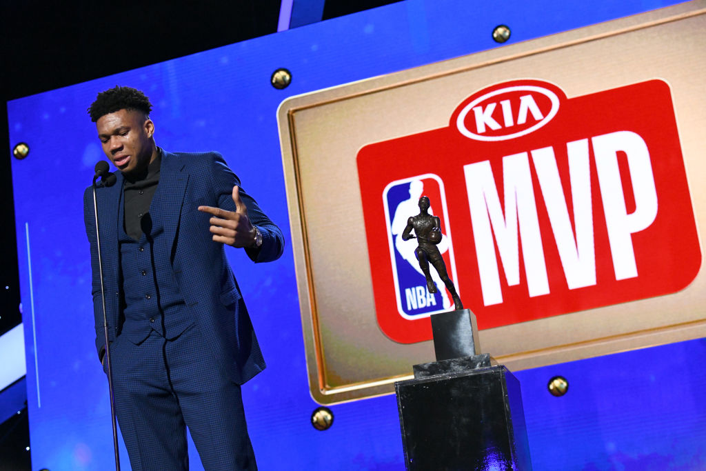 SANTA MONICA, CALIFORNIA - JUNE 24: Giannis Antetokounmpo accepts the Kia NBA Most Valuable Player award onstage during the 2019 NBA Awards presented by Kia on TNT at Barker Hangar on June 24, 2019 in Santa Monica, California