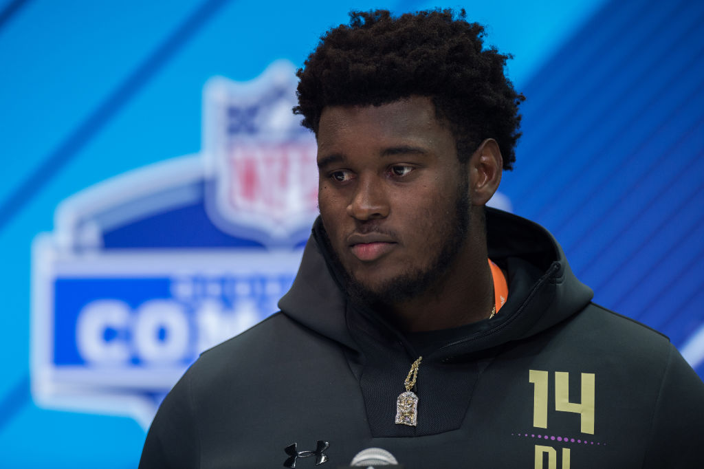 INDIANAPOLIS, IN - MARCH 03: Miami defensive lineman Kendrick Norton answers questions from the media during the NFL Scouting Combine on March 3, 2018 at the Indiana Convention Center in Indianapolis, IN