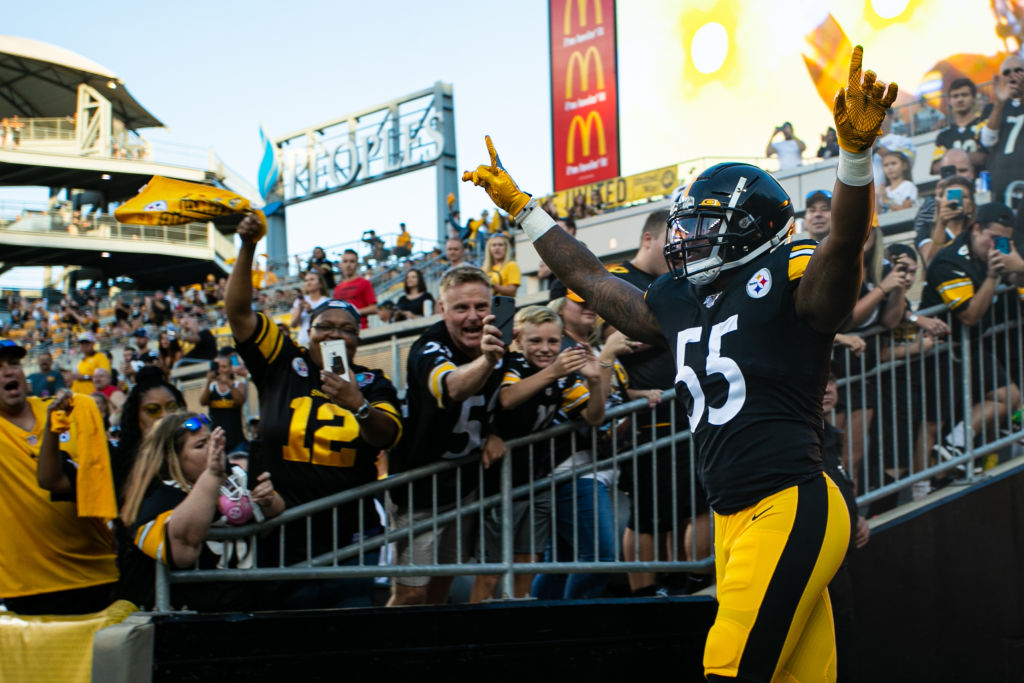 PITTSBURGH, PA - AUGUST 09: Pittsburgh Steelers linebacker Devin Bush (55) looks on during the NFL football game between the Tampa Bay Buccaneers and the Pittsburgh Steelers on August 09, 2019 at Heinz Field in Pittsburgh, PA