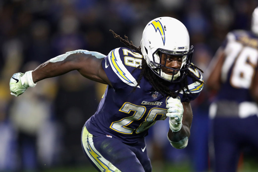 CARSON, CA - DECEMBER 22: Melvin Gordon #28 of the Los Angeles Chargers runs on a pass play during the second half of a game against the Baltimore Ravens at StubHub Center on December 22, 2018 in Carson, California.