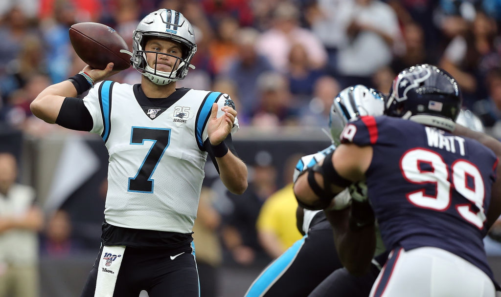 HOUSTON, TEXAS - SEPTEMBER 29: Kyle Allen #7 of the Carolina Panthers throws a pass against the Houston Texans during the first quarter at NRG Stadium on September 29, 2019 in Houston, Texas