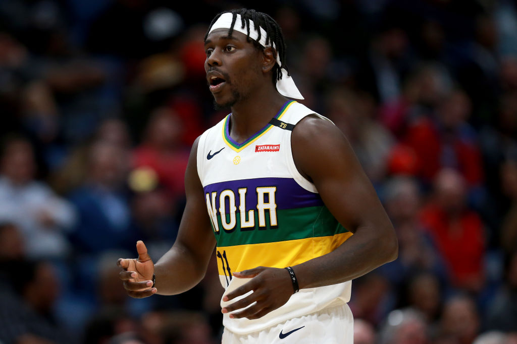 NEW ORLEANS, LOUISIANA - FEBRUARY 25: Jrue Holiday #11 of the New Orleans Pelicans reacts to a play during the second half of a game against the Philadelphia 76ers at the Smoothie King Center on February 25, 2019 in New Orleans, Louisiana. Philadelphia 76ers won the game 111 - 110