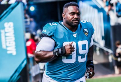 JACKSONVILLE, FLORIDA - OCTOBER 13: Marcell Dareus #99 of the Jacksonville Jaguars runs onto the field to face the New Orleans Saints at TIAA Bank Field on October 13, 2019 in Jacksonville, Florida