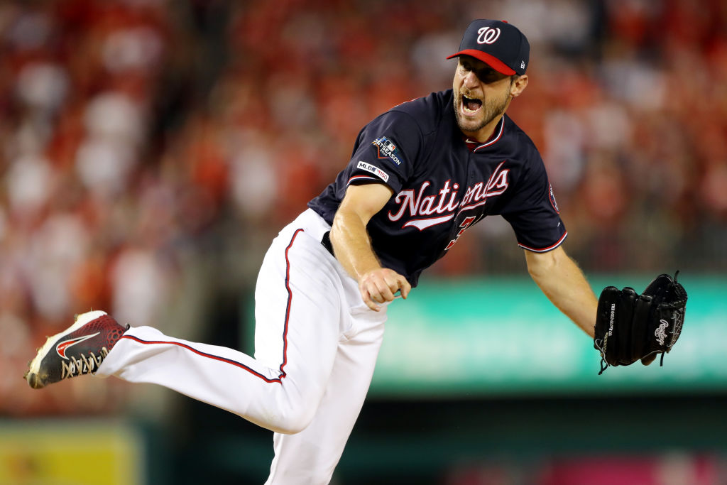 WASHINGTON, DC - OCTOBER 07: Max Scherzer #31 of the Washinton Nationals reacts to striking out Gavin Lux #48 of the Los Angeles Dodgers to end the top of the fourth inning during Game 4 of the NLDS between the Los Angeles Dodgers and the Washington Nationals at Nationals Park on Monday, October 7, 2019 in Washington, District of Columbia