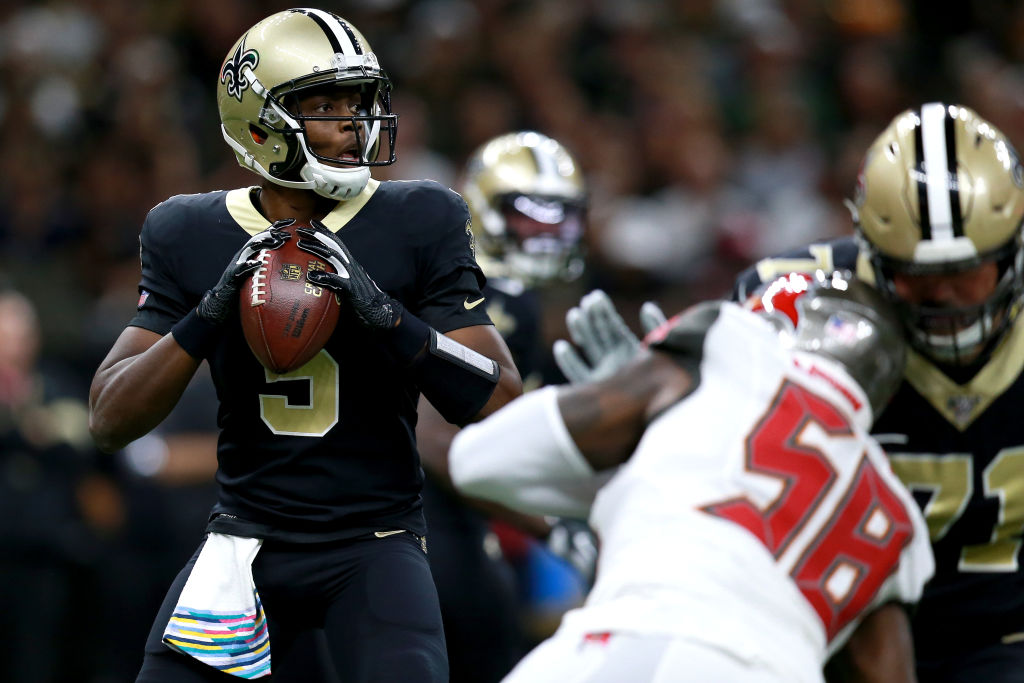 NEW ORLEANS, LOUISIANA - OCTOBER 06: Teddy Bridgewater #5 of the New Orleans Saints looks to pass during the first half of a NFL game against the Tampa Bay Buccaneers at the Mercedes Benz Superdome on October 06, 2019 in New Orleans, Louisiana.