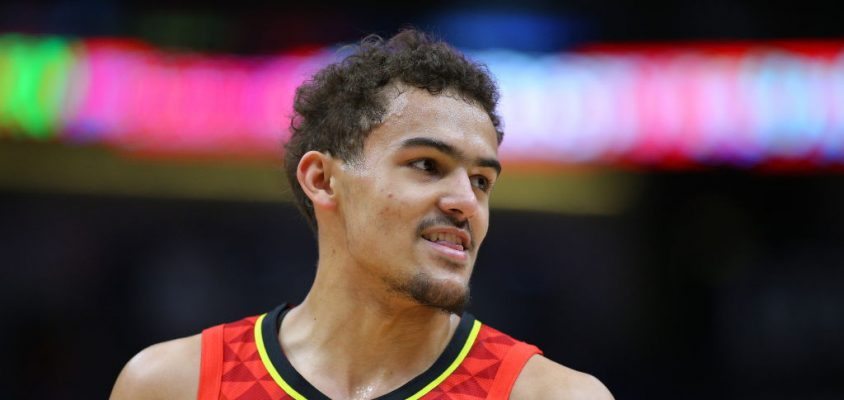 NEW ORLEANS, LOUISIANA - MARCH 26: Trae Young #11 of the Atlanta Hawks reacts during a game against the New Orleans Pelicans at the Smoothie King Center on March 26, 2019 in New Orleans, Louisiana