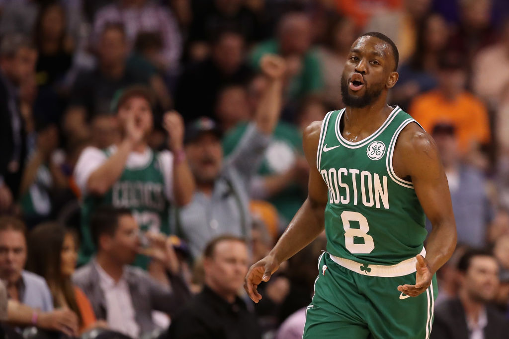 PHOENIX, ARIZONA - NOVEMBER 18: Kemba Walker #8 of the Boston Celtics reacts after scoring against the Phoenix Suns during the final moments of the first half of the NBA game at Talking Stick Resort Arena on November 18, 2019 in Phoenix, Arizona