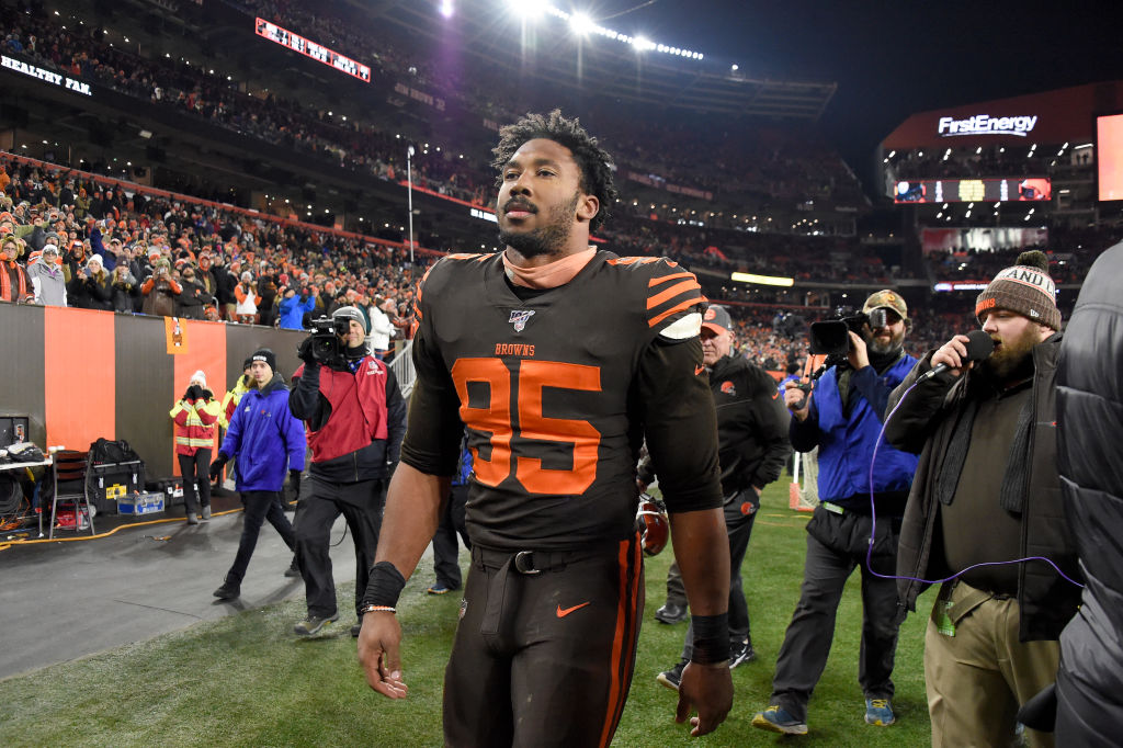 CLEVELAND, OHIO - NOVEMBER 14: Defensive end Myles Garrett #95 of the Cleveland Browns walks off the field after being ejected from the game during the second half at FirstEnergy Stadium on November 14, 2019 in Cleveland, Ohio. The Browns defeated the Steelers 21-7