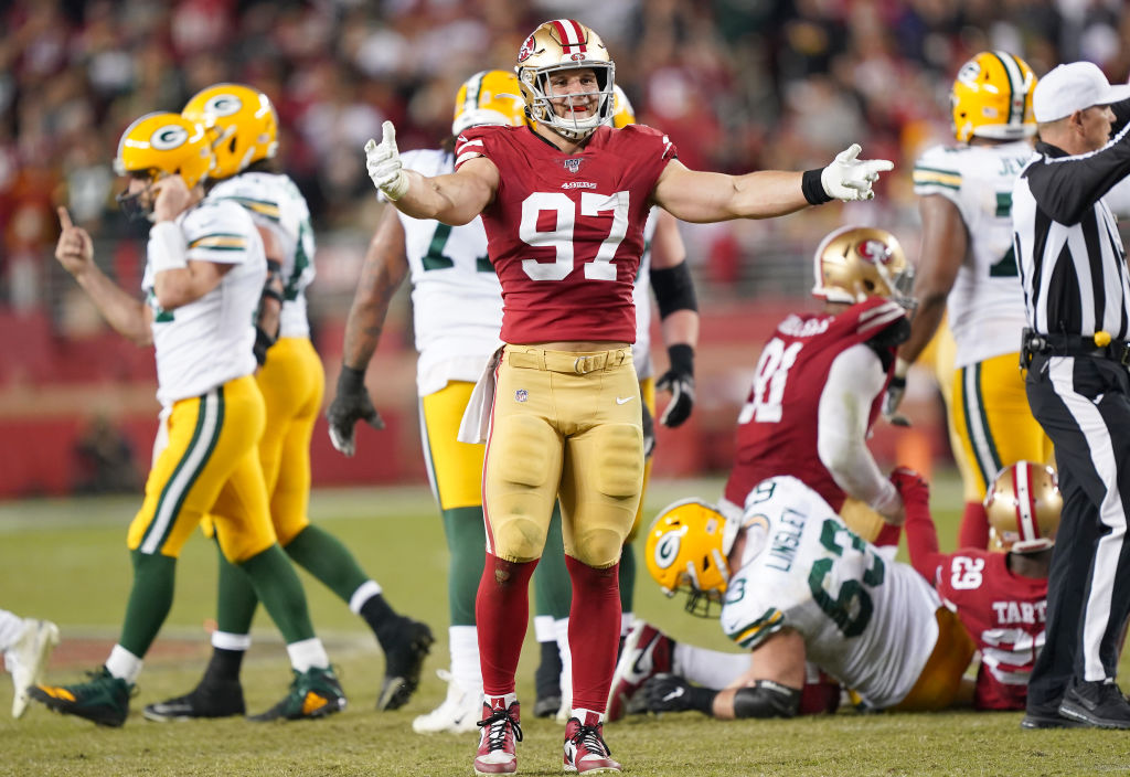 SANTA CLARA, CALIFORNIA - NOVEMBER 24: Nick Bosa #97 of the San Francisco 49ers celebrates after the sacked the quarterback against the Green Bay Packers during the second half of an NFL football game at Levi's Stadium on November 24, 2019 in Santa Clara, California. The 49ers won the game 37-8