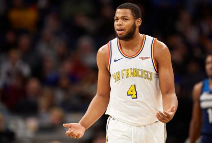 MINNEAPOLIS, MINNESOTA - NOVEMBER 08: Omari Spellman #4 of the Golden State Warriors looks on during the game against the Minnesota Timberwolves at Target Center on November 8, 2019 in Minneapolis, Minnesota