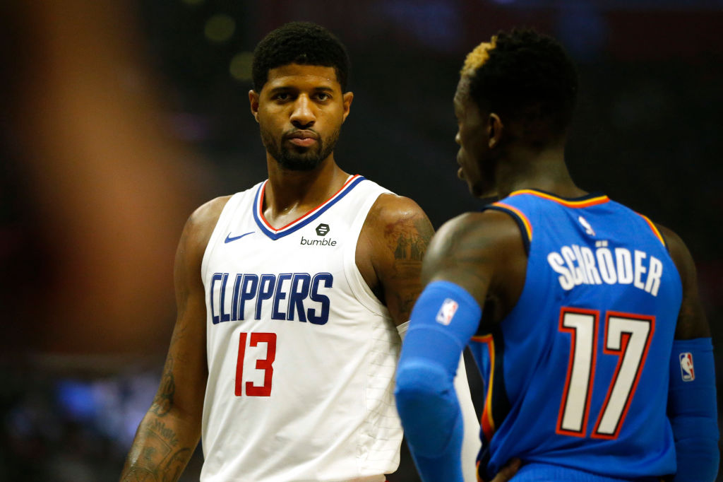 LOS ANGELES, CALIFORNIA - NOVEMBER 18: Paul George #13 of the Los Angeles Clippers looks on during the second half of a game against the Oklahoma City Thunder at Staples Center on November 18, 2019 in Los Angeles, California
