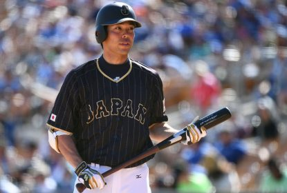 GLENDALE, AZ - MARCH 19: Shogo Akiyama #55 of Japan is seen during the exhibition game between Japan and Los Angeles Dodgers at Camelback Ranch on March 19, 2017 in Glendale, Arizona
