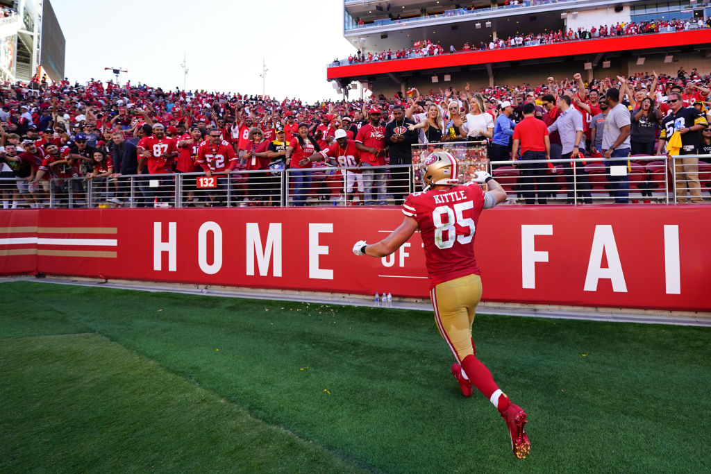 SANTA CLARA, CALIFORNIA - SEPTEMBER 22: George Kittle #85 of the San Francisco 49ers celebrates with fans after beating the Pittsburgh Steelers at Levi's Stadium on September 22, 2019 in Santa Clara, California
