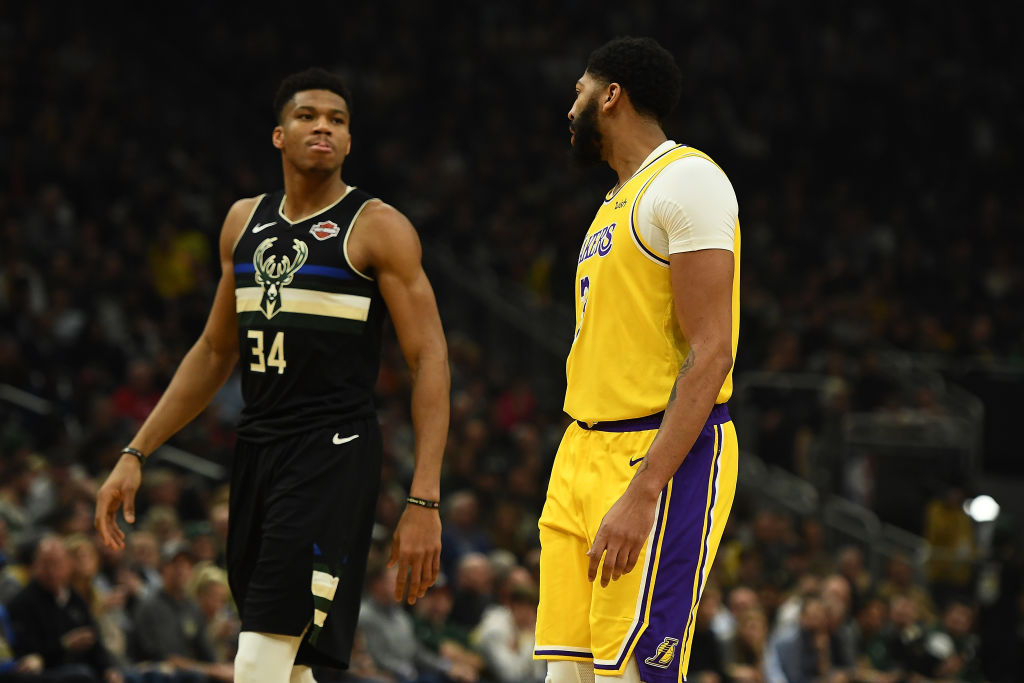 MILWAUKEE, WISCONSIN - DECEMBER 19: Anthony Davis #3 of the Los Angeles Lakers and Giannis Antetokounmpo #34 of the Milwaukee Bucks reacts to an officials call during a game at Fiserv Forum on December 19, 2019 in Milwaukee, Wisconsin