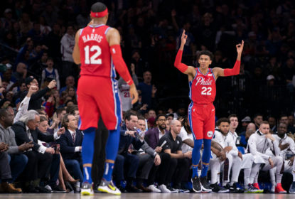 PHILADELPHIA, PA - JANUARY 15: Matisse Thybulle #22 and Tobias Harris #12 of the Philadelphia 76ers react after a three point basket by Thybulle against the Brooklyn Nets in the second quarter at the Wells Fargo Center on January 15, 2020 in Philadelphia, Pennsylvania