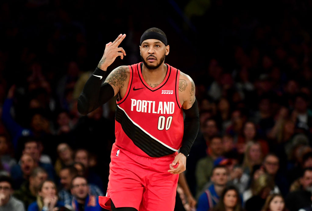 NEW YORK, NEW YORK - JANUARY 01: Carmelo Anthony #00 of the Portland Trail Blazers reacts after a basket during the second half against the New York Knicks at Madison Square Garden on January 01, 2020 in New York City