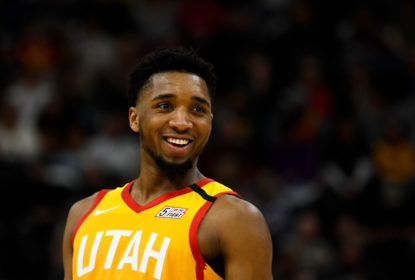 SALT LAKE CITY, UT - JANUARY 10: Donovan Mitchell #45 of the Utah Jazz looks on during a game against the Charlotte Hornets at Vivint Smart Home Arena on January 10, 2019 in Salt Lake City, Utah
