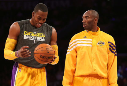LOS ANGELES, CA - OCTOBER 21: Dwight Howard #12 (L) and Kobe Bryant #24 of the Los Angeles Lakers talks as they warm up to play the Sacramento Kings at Staples Center on October 21, 2012 in Los Angeles, California