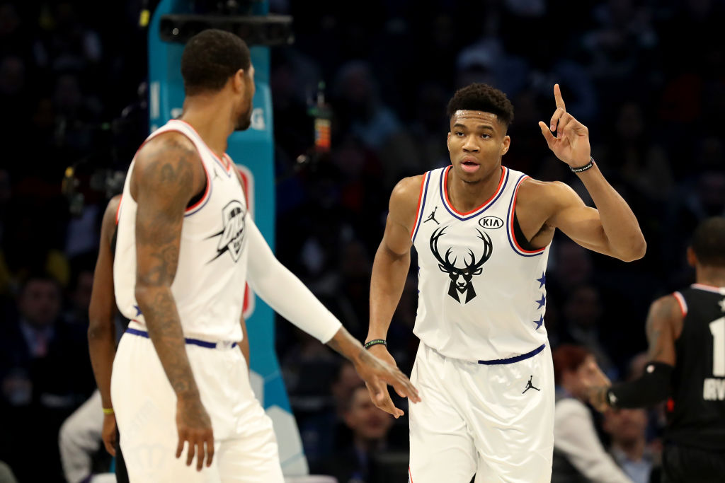CHARLOTTE, NORTH CAROLINA - FEBRUARY 17: Giannis Antetokounmpo #34 of the Milwaukee Bucks and Team Giannis reacts against Team LeBron in the first quarter during the NBA All-Star game as part of the 2019 NBA All-Star Weekend at Spectrum Center on February 17, 2019 in Charlotte, North Carolina